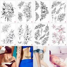 купить оптом мода черный маленький эскиз цветочная татуировка временный пион