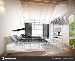 Interior Design Bedroom Sketches. Abstract Sketch Design Of Interior Bedroom  \u2014 Photo By Yaryhee