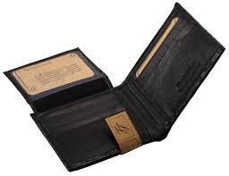 mens western genuine leather wallet bifold ostrich print card slots black 4