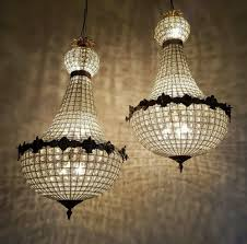 pair of large empire style 1920s antique basket chandeliers