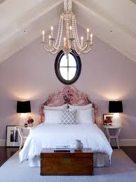 Pale purple bedroom with walls painted in Slip by Benjamin Moore via  Jackson Paige Interiors,