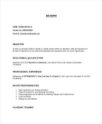 Entry Level Optometrist Resume Template