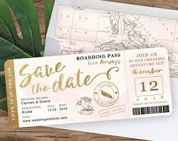 Destination Wedding Boarding Pass Save The Date Invitation In Etsy