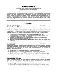 Job Resume Free Restaurant Manager Examples Template Store Sample