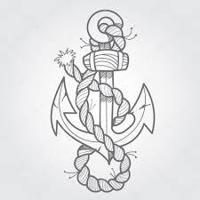 якорь и веревки черный и белый эскиз татуировки стоковое фото
