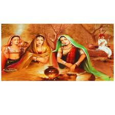 Small Picture Buy Ray Decors Rural Women Painting On Canvas Matte Finish