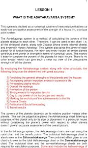 Lesson 1 What Is The Ashtakavarga System Pdf Free Download
