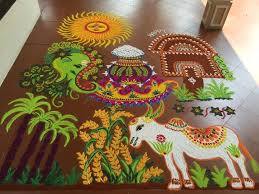 office decor for pongal. pongal rangoli office decor for