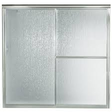 sterling deluxe 59 375 in w x 56 25 in h silver bathtub door