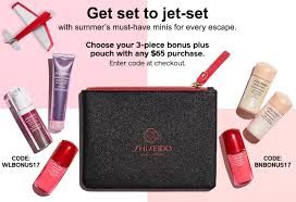 receive your choice of 4 piece bonus gift with your 65 shiseido purchase