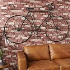 black metal bike wall art 186x106 urban