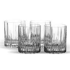 set of 4 crystal double old fashioned glasses