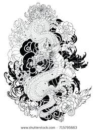 hand drawn dragon tattoo coloring book style old for anese