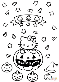 Small Picture Halloween Hello Kitty Coloring Pages Scary Halloween Hello Kitty