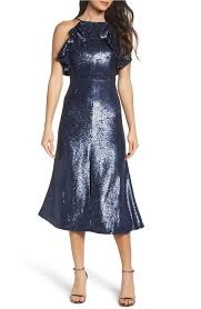 C Meo Collective Navy C Meo Illuminated Sequin Ruffle Midi Mid Length Cocktail Dress Size 6 S 62 Off Retail