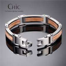 snless steel bracelet with wood inlay