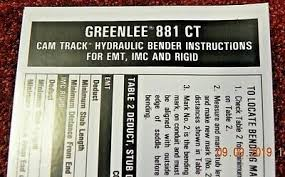 Greenlee 881 Table Bender Chart Bar Unit Connecting 881ct 26309 By Greenlee 299 99