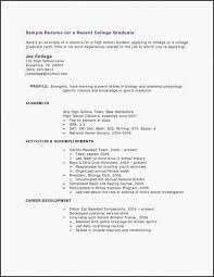 21 Amazing Sample Resume For Recent College Graduate With No