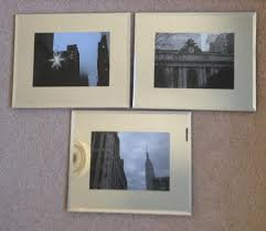 set of 3 venetian glass mirror photo frames with nyc photos
