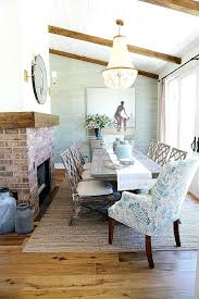 coastal dining room. Beachy Dining Room Sets Coastal With Wallpaper Brick Fireplace And Glass Chandelier Homes