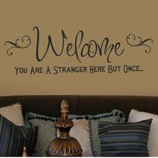 welcome you are a stranger here but once wall word art floral simple sticker classic stunning on wall art words stickers with wall art inspirational wall art word for redicorate your room vinyl