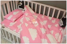 3pcs cotton crib pink black white gray bedding set duvet quilt cover baby bed sheet pillowcase cute clouds