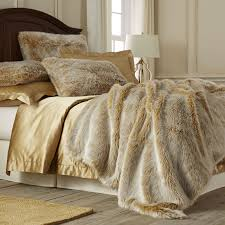 gold ombre luxe faux fur ombre blanket  sham  pier  imports