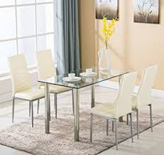 glass dining furniture. 5 Piece Dining Table Set 4 Chairs Glass Metal Kitchen Room Breakfast Furniture For Family