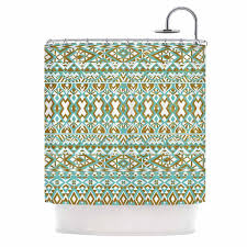 kess inhouse pom graphic design mint gold tribals teal brown shower curtain