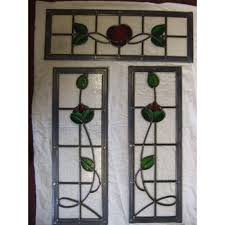 sd027 victorian edwardian 5 panel stained glass exterior original door the rose