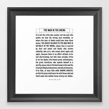 Man In The Arena Quote Theodore Roosevelt Framed Art Print