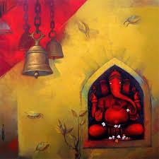 shree ganesh painting by artist sachin akalekar acrylic canvas