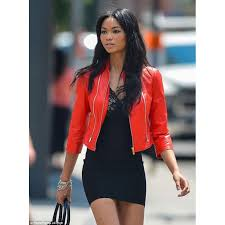 iman rock red pure leather jacket