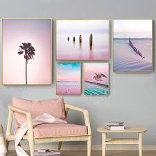 <b>Nordic Poster</b> Pink <b>Ocean</b> Landscape <b>Painting</b> Coconut Tree Stump ...