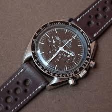 omega sdmaster moonwatch submariner on a smooth rally barenia chocolate brown lugs watch strap