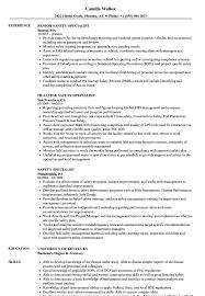 Safety Specialist Resume Samples Velvet Jobs