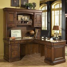 traditional office decor. Corner Computer Desk With Hutch For Your Home Office Decor: L Shaped Brown Solid Wood Traditional Decor
