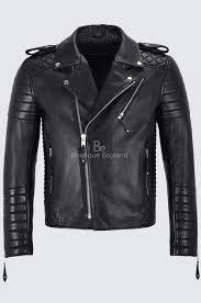 brando men s real black leather jacket quilted soft slim fit biker style 2250