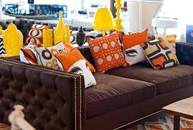 furniture various graphic and colors of cushions and yellow