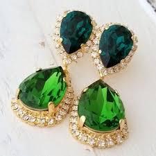 emerald crystal earrings emerald green dark green chandelier earrings bridal earring dangle earrings