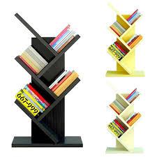 5 tier book shelf tree shape design wood rack display organizer