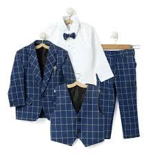 Blue Coat Navy Blue Coat With Shirt Waistcoat Bow And Pant Set