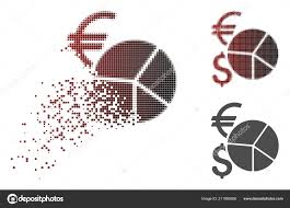 Damaged Pixel Halftone Currency Pie Chart Icon Stock