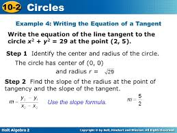 example 4 writing the equation of a tangent