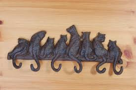 Cat Coat Rack Black Metal Cat Shaped Wall Mounted Coat Hook With Six Tail Hooks On 5