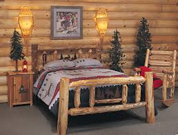 Pine Log Bedroom Furniture Rustic Log Bedroom Furniture Varnished Log Wood King Size Bed