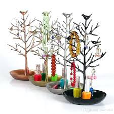 jewelry holder tree jewelry stand fashion bird earring necklace ring show rack holder display from