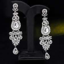 4 of 11 ik long crystal drop earrings diamante bridal chandelier rhinestone dangle prec