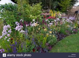 Small Picture A colourful mixed flower border in a cottage garden Stock Photo