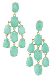 aqua stone gold chandelier earrings
